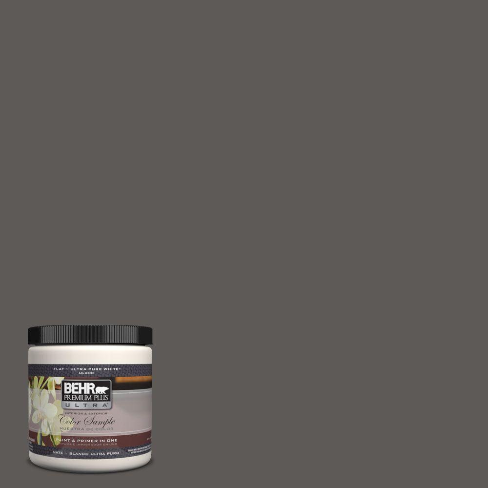 BEHR Premium Plus Ultra 8 oz. #UL260-2 Intellectual Flat Interior/Exterior Paint and Primer in One Sample