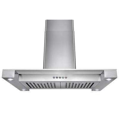 30 in. Convertible Stainless Steel Island Mount Range Hood in Stainless Steel Tempered Glass and Push Button Control