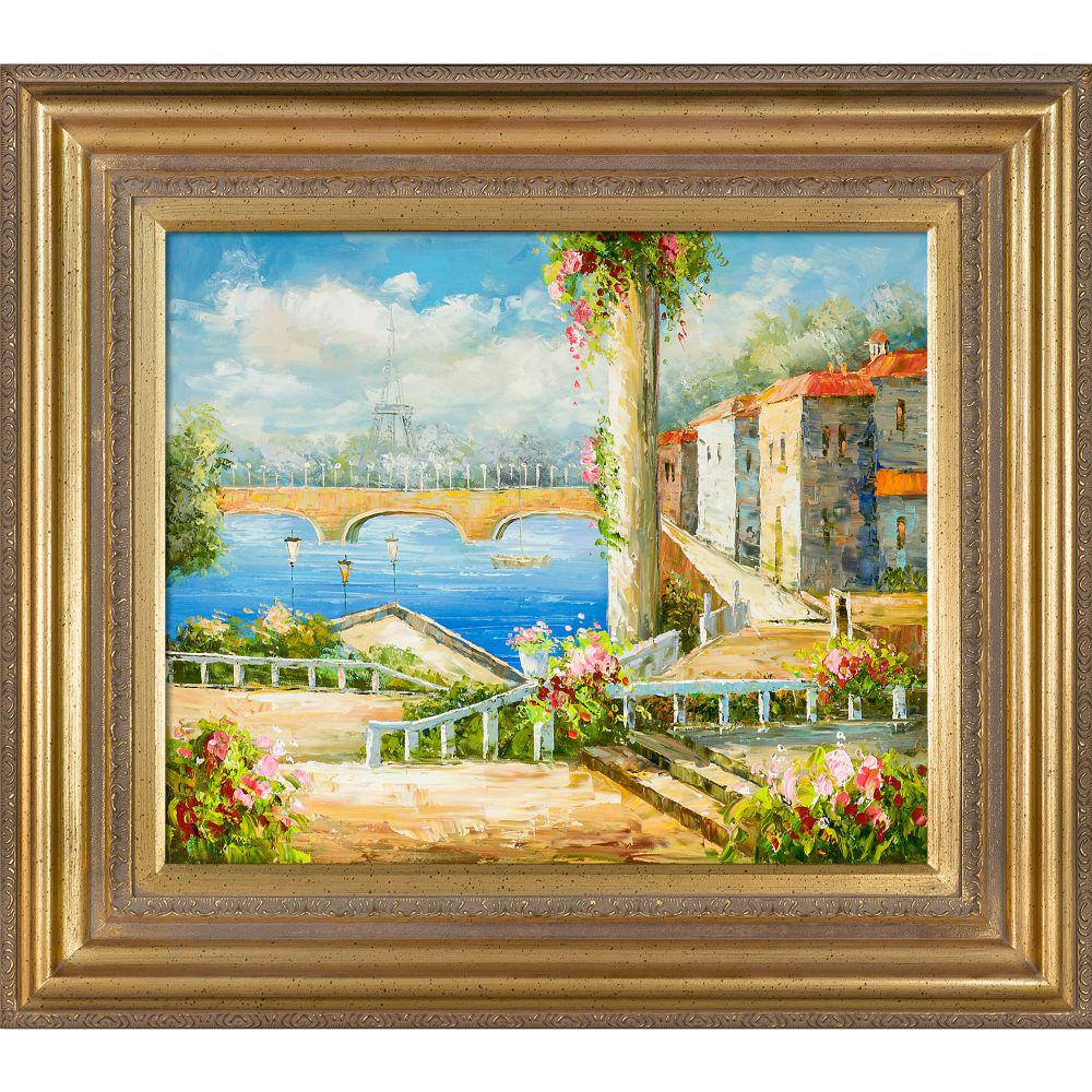 LA PASTICHE Resort Near The Eiffel with Mediterranean Gold Frameby Unknown Artists Oil Painting, Multi-Colored was $1018.0 now $464.06 (54.0% off)