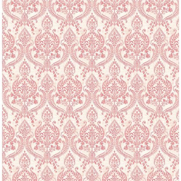A-Street Waverly Red Petite Damask Wallpaper Sample