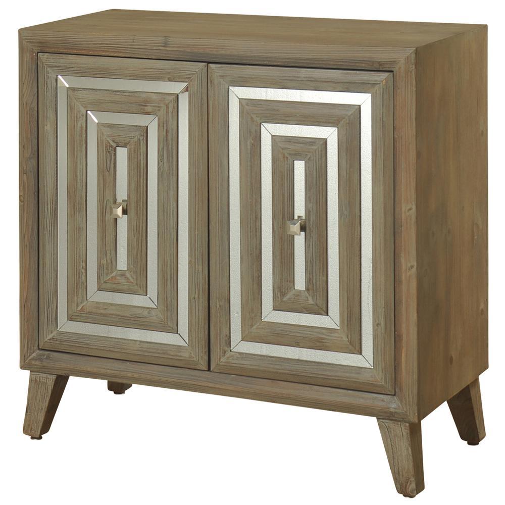 Driftwood Gray 2-Door Inlaid Mirror Cabinet