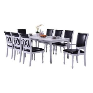 Indoor Black And White Modern 9 Piece Dining Set With A Solid Wood Rectangular Table