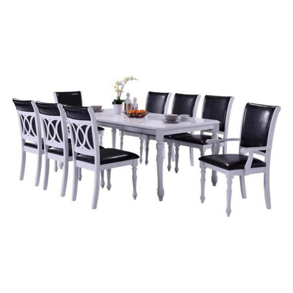 Indoor Black and White Modern 9-Piece Dining Set with a Solid Wood  Rectangular Dining Table
