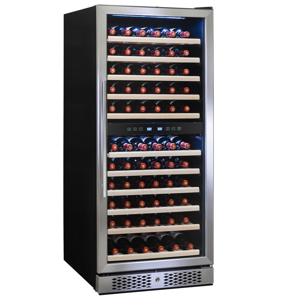 vinotemp connoisseur series 46-bottle dual-zone wine cooler in  stainless-vt-46-2z-ssdst