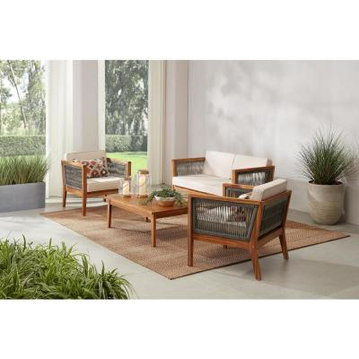 Willow Glen Farmhouse 4-Piece Wood Patio Conversation Set with Teak Finish and Beige Cushions