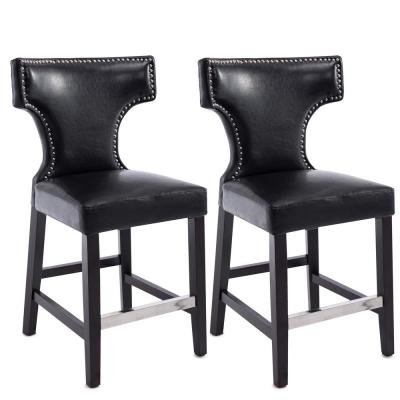 Kings 24.5 in. Black Bonded Leather Bar Stool (Set of 2)