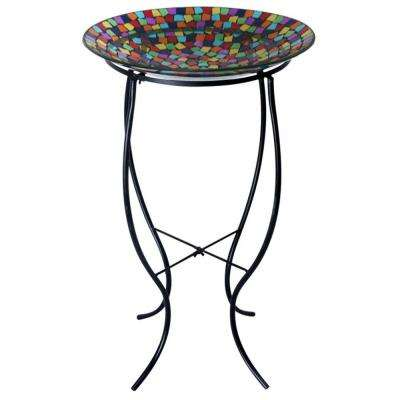 Mosaic Birdbath with Metal Stand