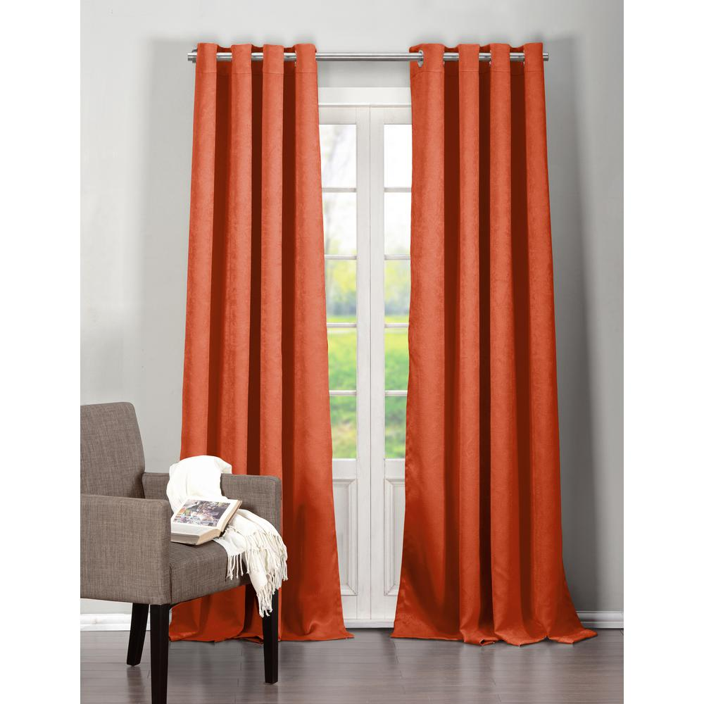 DUCK RIVER TEXTILE Solid Orange Spice Polyester Blackout Grommet Window Curtain 40 in. W x 84 in. L (2-Pack)