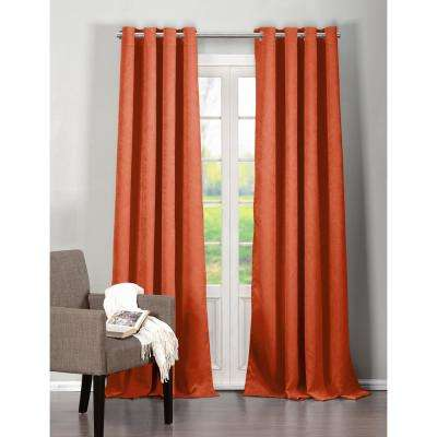 Solid Orange Spice Polyester Blackout Grommet Window Curtain 40 in. W x 84 in. L (2-Pack)