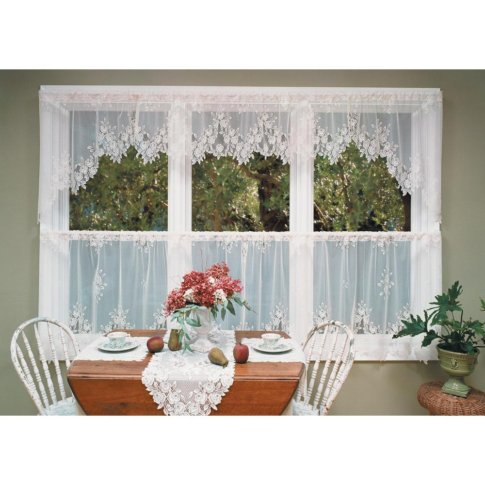 Heritage Lace Tea Rose 60 In L Polyester Valance White