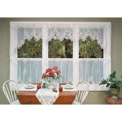 Tea Rose 60 in. L Polyester Valance in White