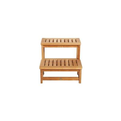 24 in. W x 20 in. H Hot Tub Steps in Natural Teak