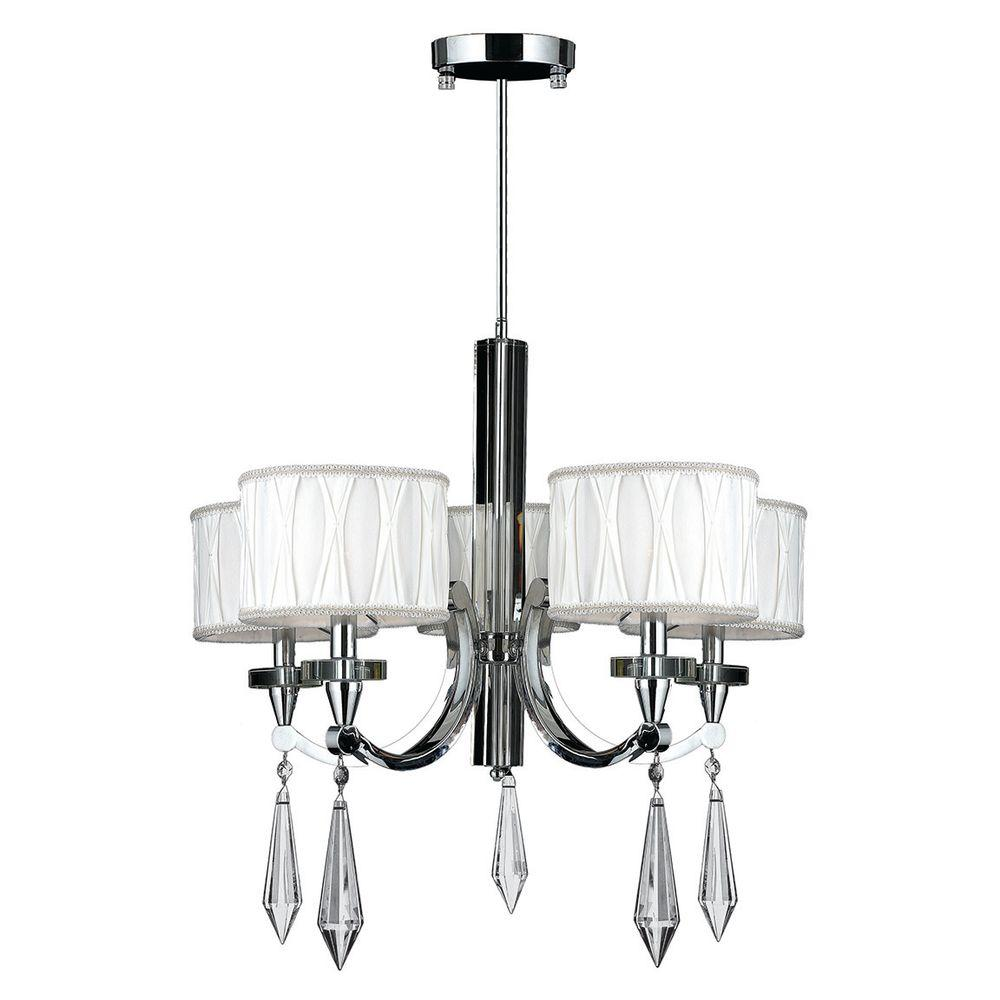 Warehouse of tiffany eleanor 5 light chrome crystal chandelier cutlass collection 5 light polished chrome crystal chandelier with fabric shade arubaitofo Choice Image