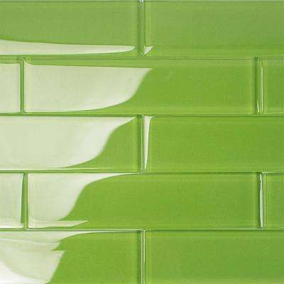 Contempo Apple Lime 2 in. x 8 in. x 8mm Polished Glass Floor and Wall Tile (1 sq. ft.)