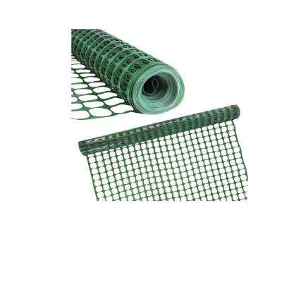 4 ft. H x 100 ft. W Green Plastic Safety Garden Netting Above Ground Barrier Snow Fence Temporary Fencing (Pack of 2)