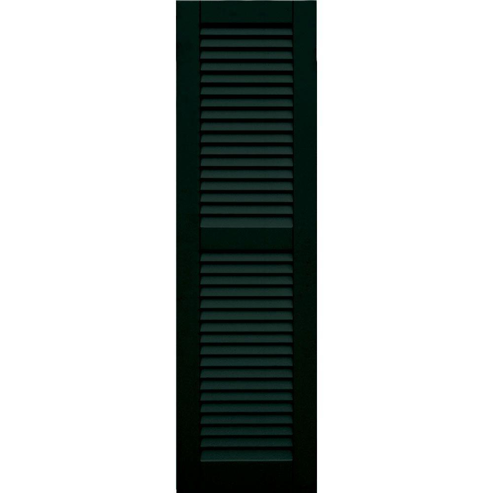 Winworks Wood Composite 15 in. x 53 in. Louvered Shutters Pair #654 Rookwood Shutter Green