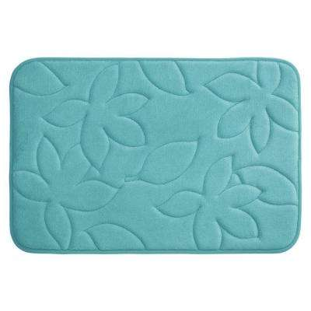 Blowing Leaves Turquoise 20 in. x 34 in. Memory Foam Bath Mat