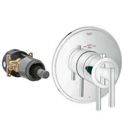Timeless 2-Handle GrohFlex Universal Rough-In Box Single Function Thermostatic Kit in Chrome