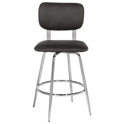 Bloomfield 25.25 in. Weathered Dark Gray and Chrome Counter Stool (Set of 2)