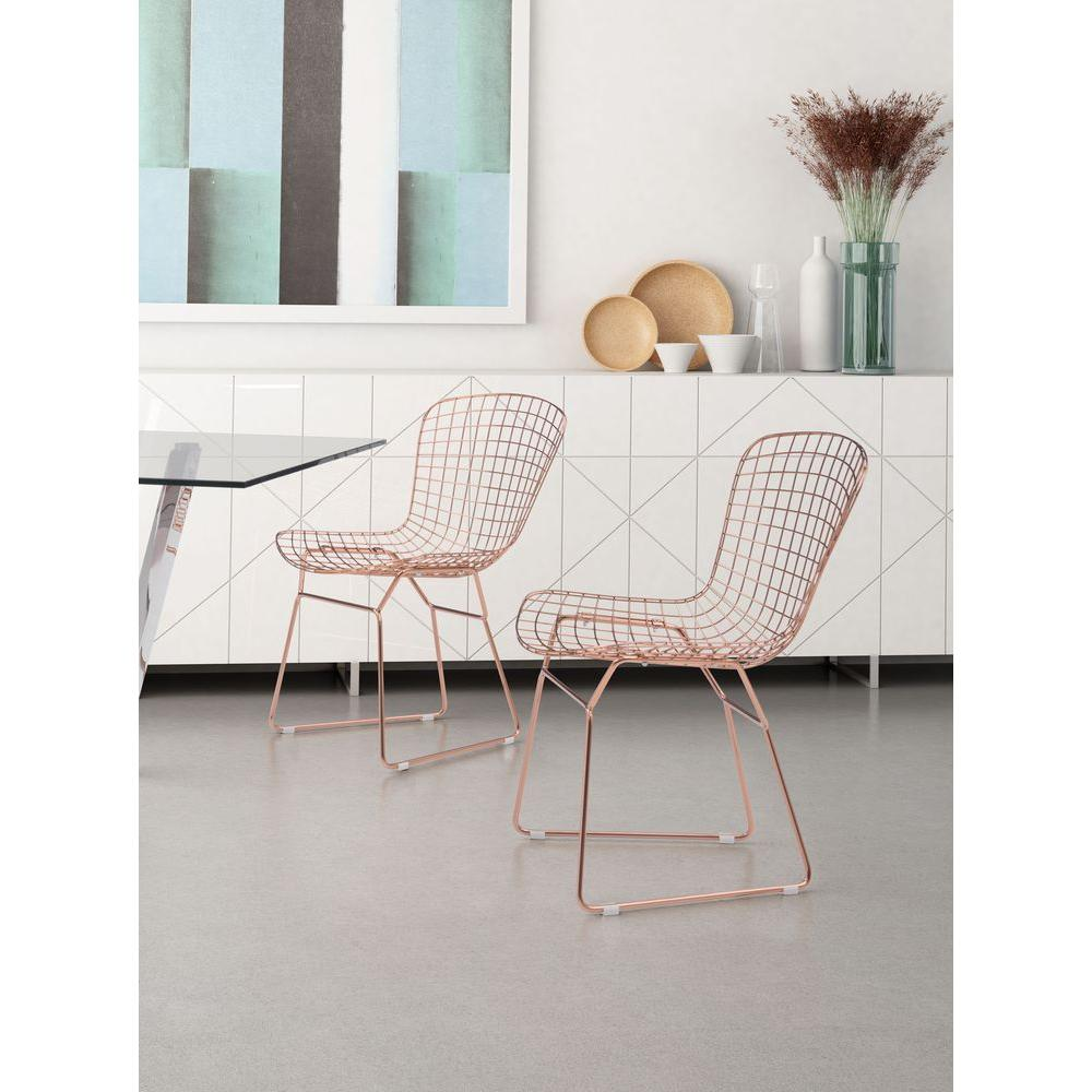 Rose Gold Steel Wire Dining Chair (Set Of 2)