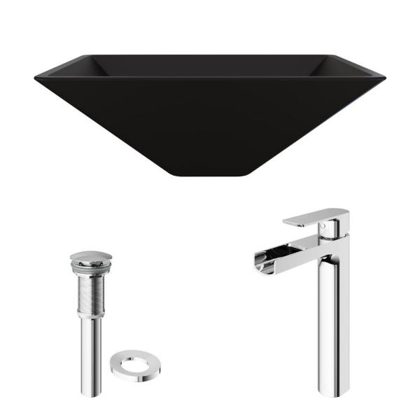 Reviews For Vigo Matte Shell Serato Glass Square Vessel Bathroom Sink In Black With Amada Faucet And Pop Up Drain In Chrome Vgt1426 The Home Depot
