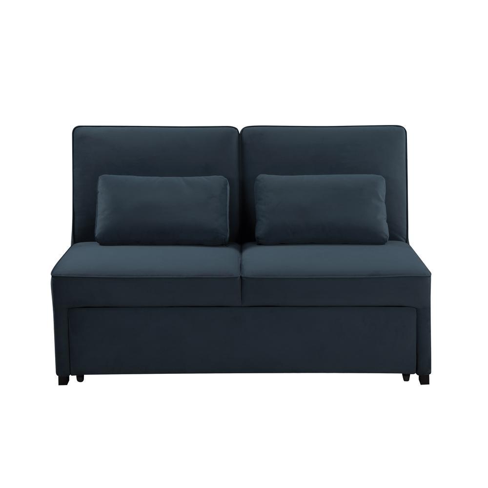 Naples 37.8 in. Atlantic Linen 3-Seater Armless Tuxedo Reclining Sofa