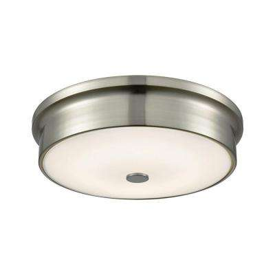 Towne Satin Nickel and Opal Glass Round Small LED Flush Mount