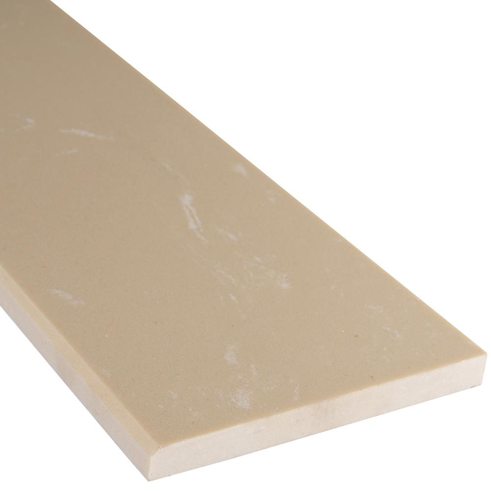 Beige Single Bevelled 6 in. x 37 in. Polished Engineered Marble