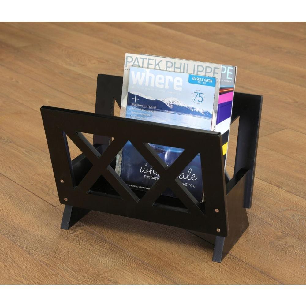 Home Craft Black Contemporary Magazine Rack