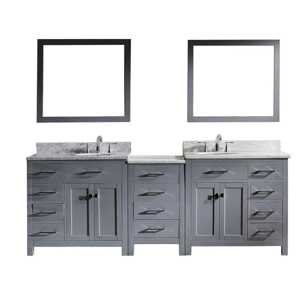 Virtu Usa Caroline Parkway 92 In W Bath Vanity In Gray With Marble Vanity Top In White With Square Basin And Mirror Md 2193 Wmsq Gr The Home Depot