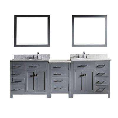 Caroline Parkway 93 in. W x 36 in. H Vanity with Marble Vanity Top in Carrara White with White Square Basin and Mirror