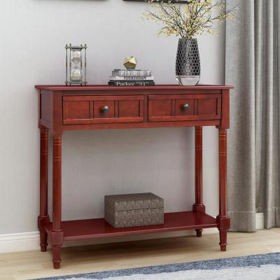 Cherry Daisy Series Console Table with Two Drawers and Bottom Shelf