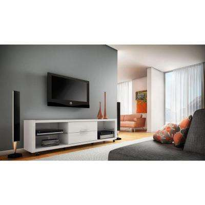 Belvedere White High Gloss Storage Entertainment Center