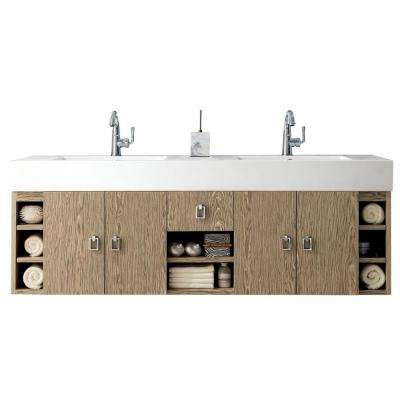 Tiburon 59 in. Double Vanity in Champagne Tiger with Solid Surface Vanity Top in Dark Gray Glossy with White Basin