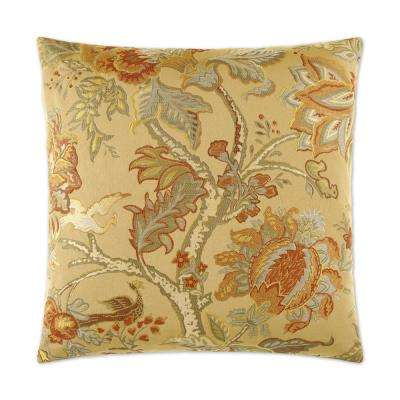 Tree of Life Gold Feather Down 24 in. x 24 in. Standard Decorative Throw Pillow