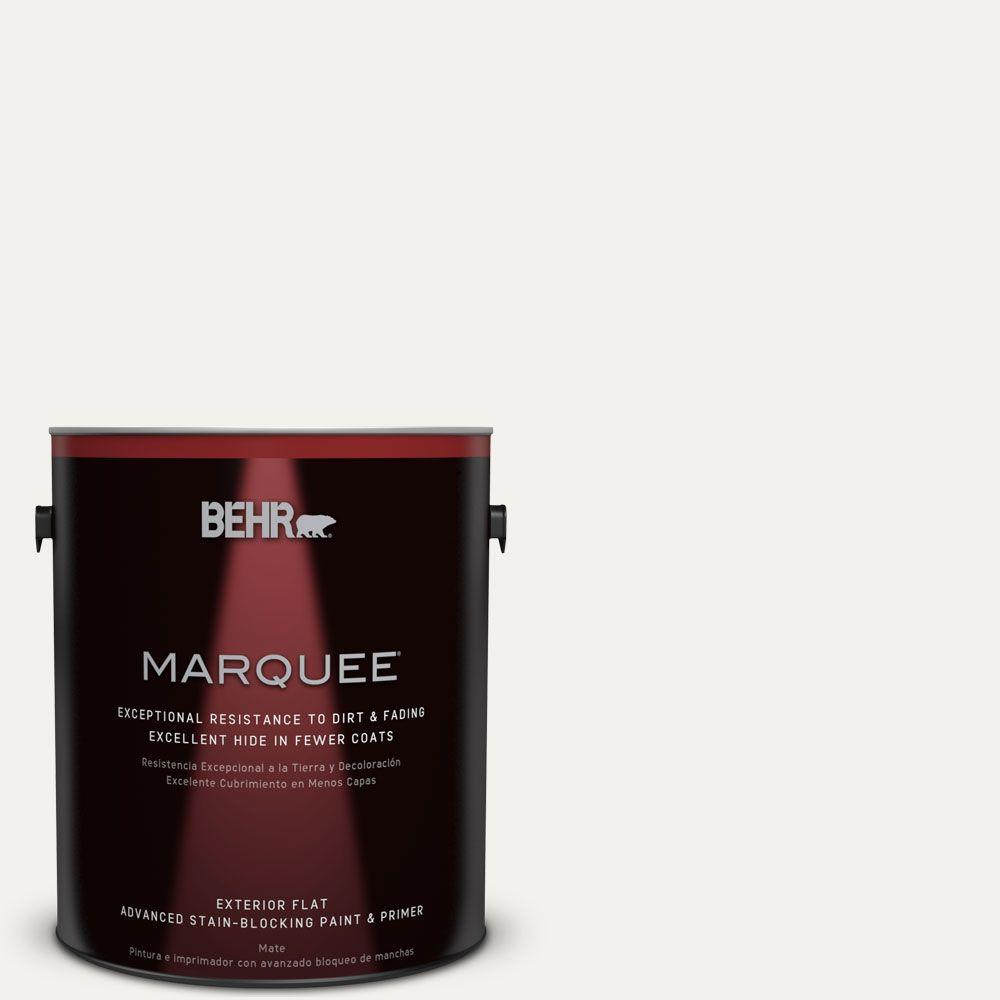 BEHR MARQUEE 1-gal. #W-F-600 Snow Fall Flat Exterior Paint