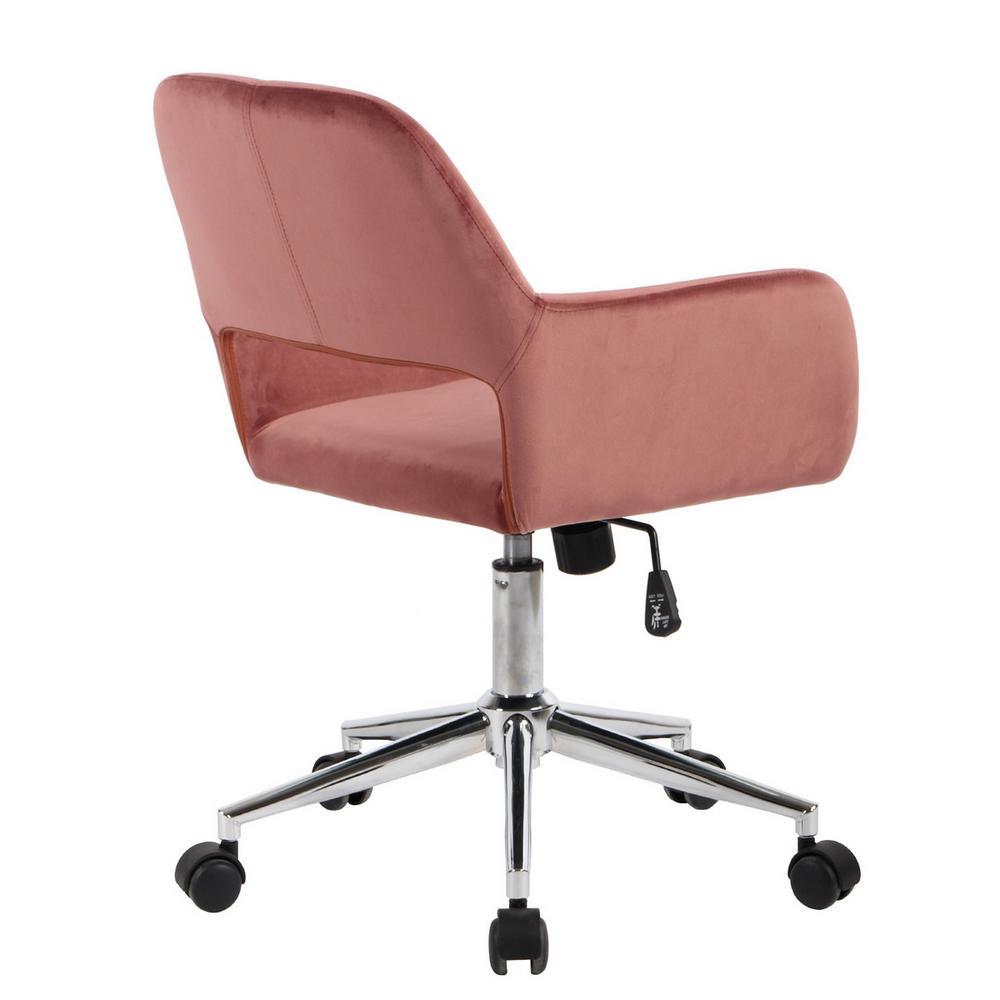 Stupendous Furniturer Ross Rose Velvet Home Task Chair Ross Chrome Theyellowbook Wood Chair Design Ideas Theyellowbookinfo