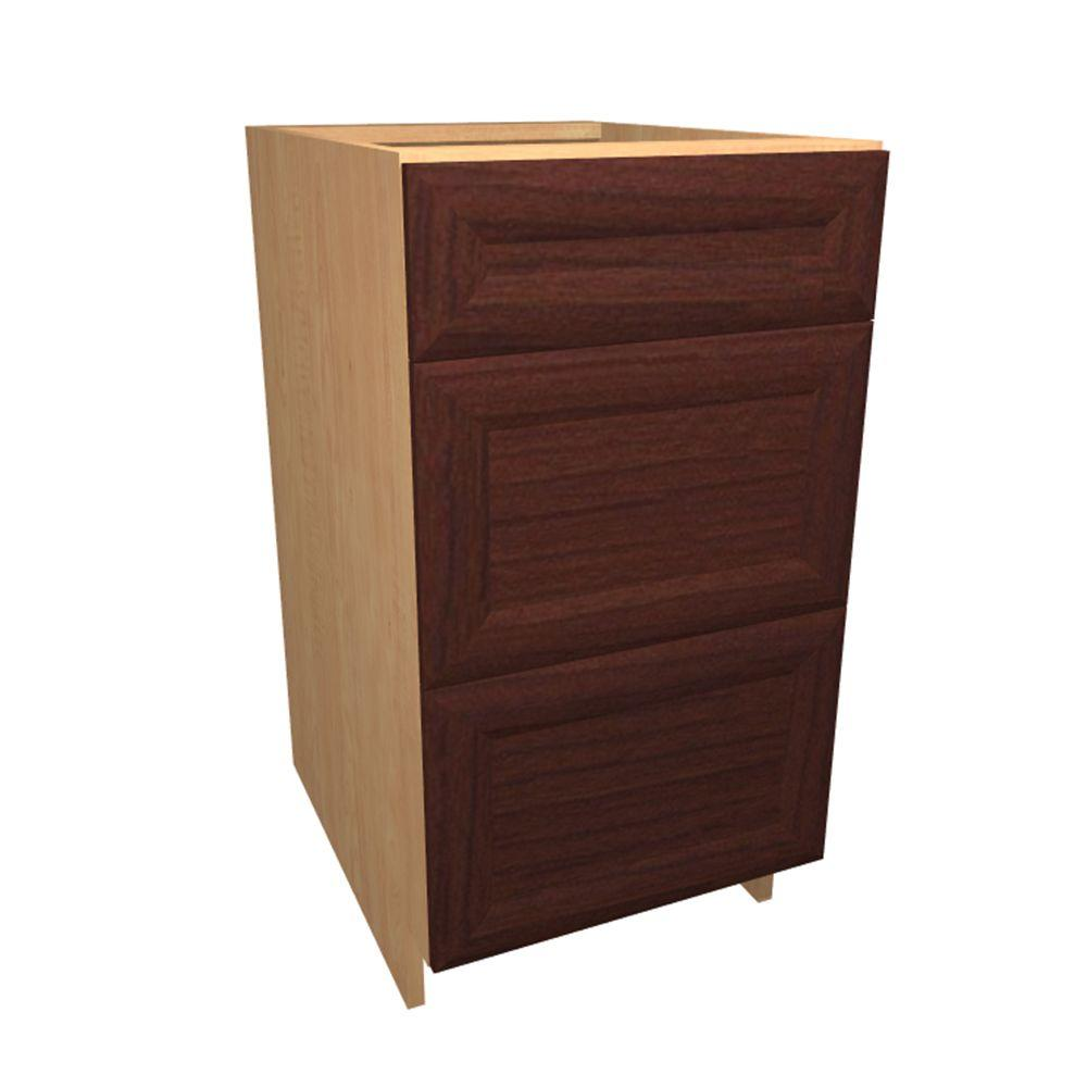Home Decorators Collection Dolomiti Ready to Assemble 15 x 34.5 x 24 in. Base Drawer Cabinet with 3 Soft Close Drawer in Cherry, Cherry Melamine