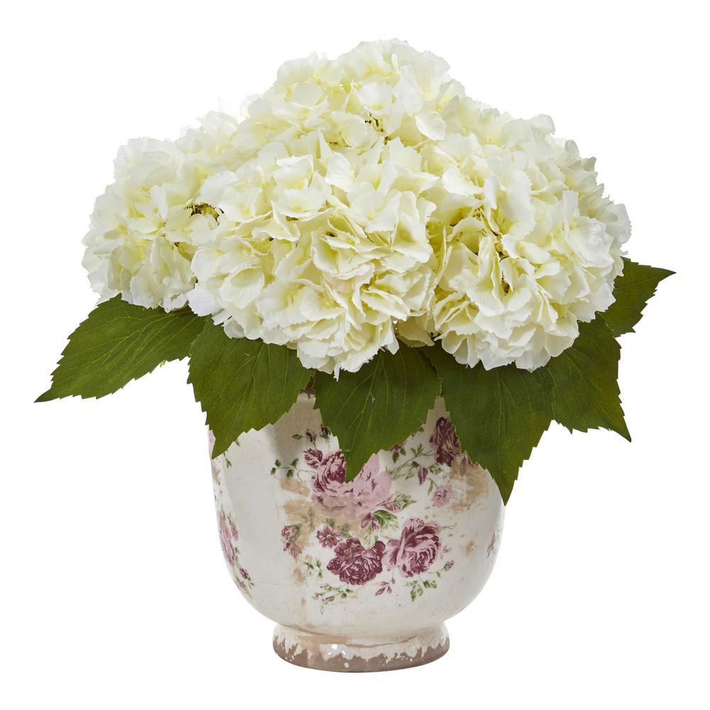 Indoor Giant Hydrangea Artificial Arrangement in Floral Printed Vase