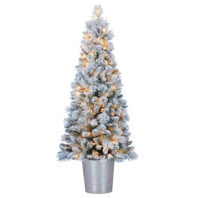 4.5 ft. Entry Way PVC Pre Lit Artificial Christmas Tree with Stand