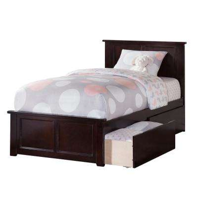 Madison Espresso Twin Platform Bed with Matching Foot Board and 2 Urban Bed Drawers