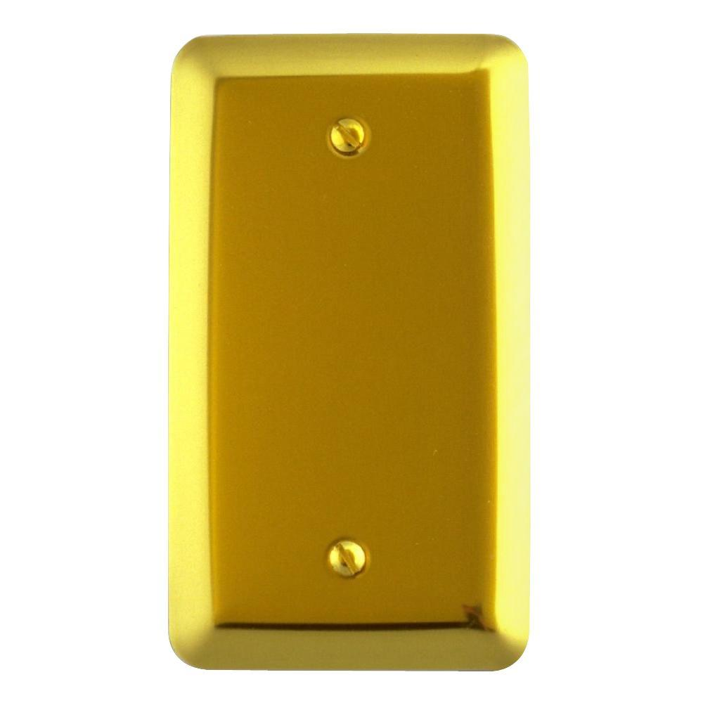Amerelle 1 Blank Steel Wall Plate - Brushed Brass-155B - The Home Depot