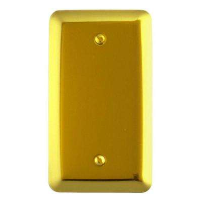 1 Blank Steel Wall Plate - Brushed Brass