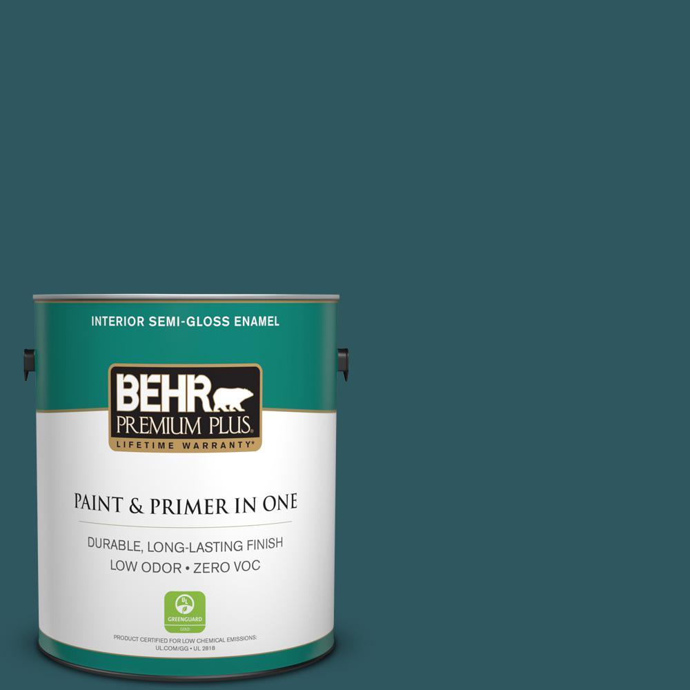 BEHR Premium Plus 1-gal. #PPF-56 Terrace Teal Zero VOC Semi-Gloss Enamel Interior Paint