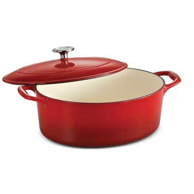 Gourmet 5.5 Qt. Cast Iron Oval Dutch Oven