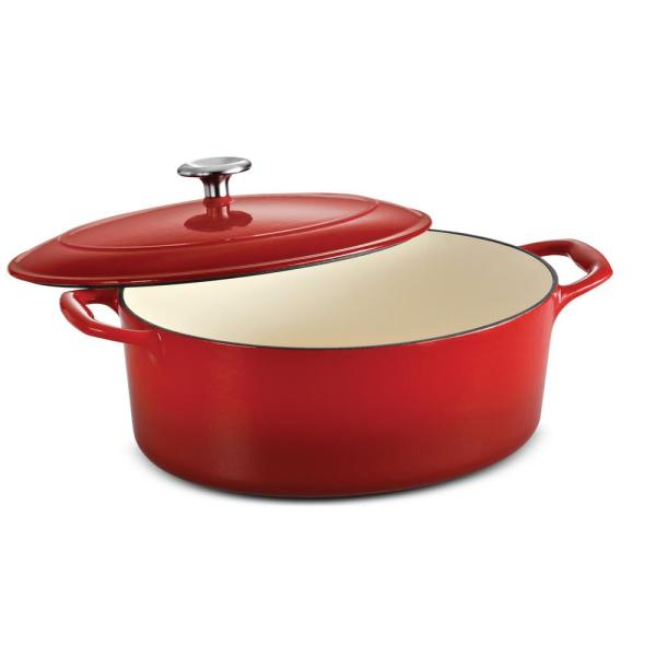 Gourmet 5.5 qt. Oval Porcelain-Enameled Cast Iron Dutch Oven in Gradated Red with Lid
