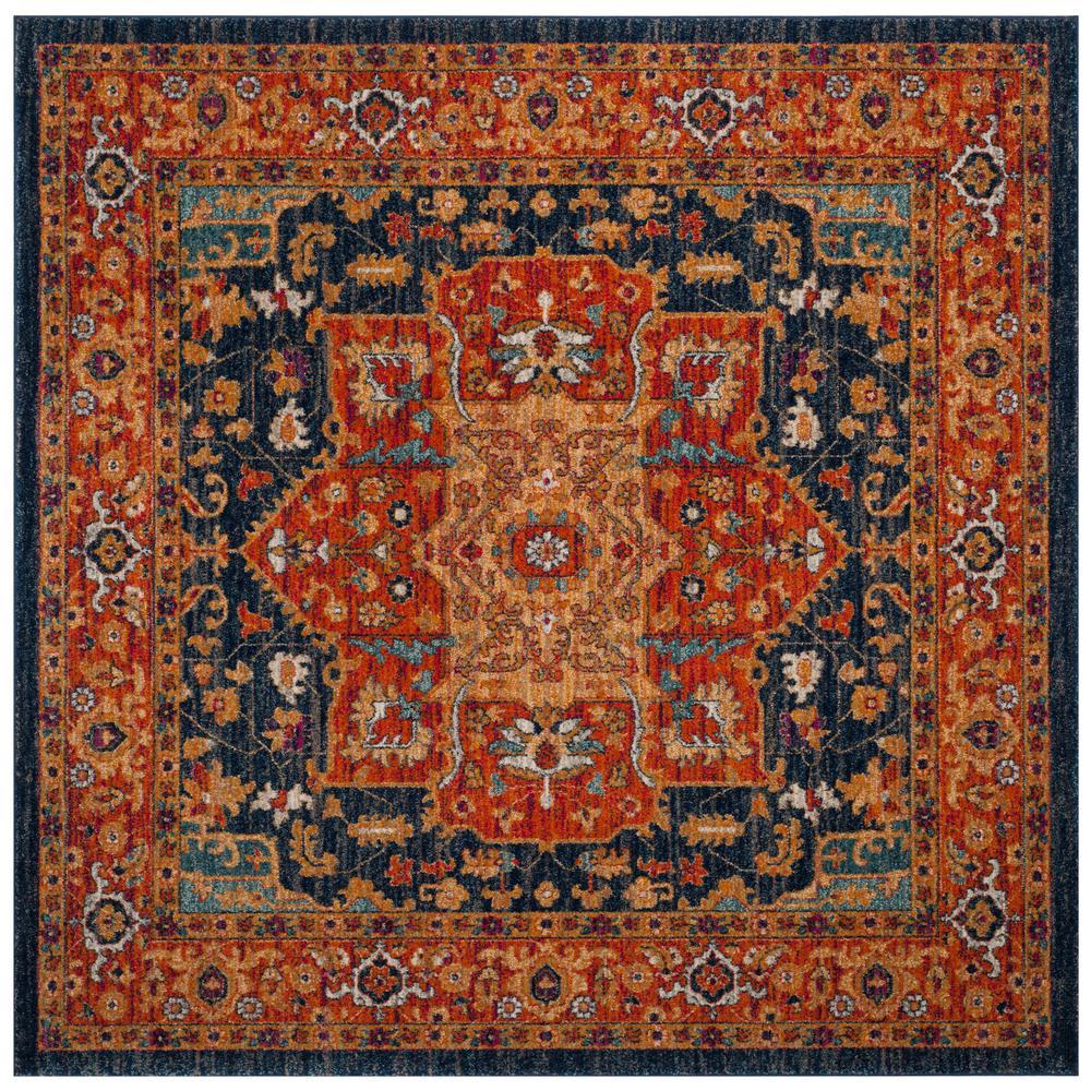 Evoke Blue/Orange 7 ft. x 7 ft. Square Area Rug
