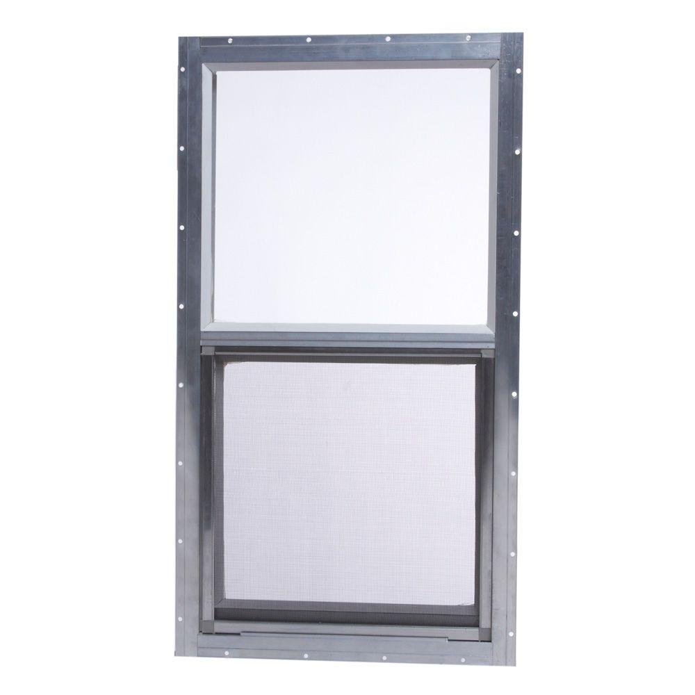 TAFCO WINDOWS 14 in. x 27 in. Mobile Home Single Hung Aluminum Window - Gray
