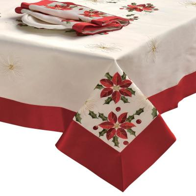 Holiday Embroidered Poinsettia Square 36 in. Tablecloth Topper with Red Trim Border