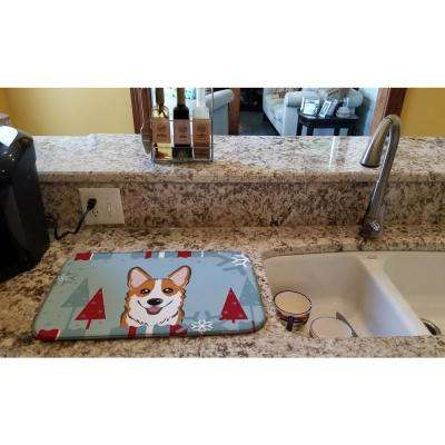 14 in. x 21 in. Multi-Color Winter Holiday Red Corgi Dish Drying Mat